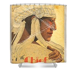 The Chief Train - Vintage Poster Folded Shower Curtain