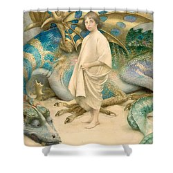 The Child In The World Shower Curtain by Thomas Cooper Gotch