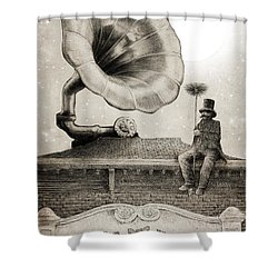 The Chimney Sweep Monochrome Shower Curtain