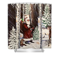 The Christmas Forest Visitor 2 Shower Curtain