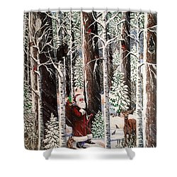 The Christmas Forest Visitor Shower Curtain by Jennifer Lake