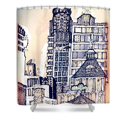 Shower Curtain featuring the painting The Chrysler Building An Erotic Fantasy by Carolyn Weltman