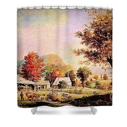 Shower Curtain featuring the painting The Cider Press - After Durrie by Lianne Schneider