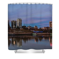 The City At Sunset Shower Curtain by Phillip Burrow