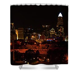 Shower Curtain featuring the digital art The City Of Charlotte Nc At Night by Chris Flees