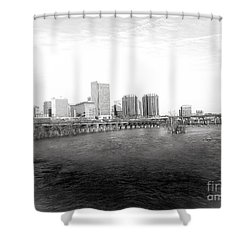 The City Of Richmond Black And White Shower Curtain by Melissa Messick