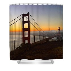 Bridge And Fog And City Shower Curtain by Eugene Evon