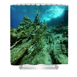 Shower Curtain featuring the photograph The Cliff by Rico Besserdich