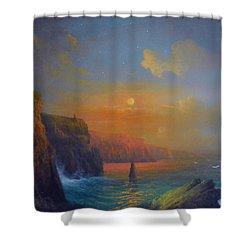 Ireland The Cliffs Of Moher  Shower Curtain by Joe Gilronan