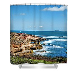 The Cliffs Of Point Loma Shower Curtain by Daniel Hebard