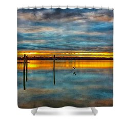 Serene Sunset Shower Curtain by Lauren Fitzpatrick