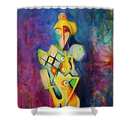 Shower Curtain featuring the painting The Clown by Kim Gauge