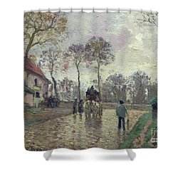 The Coach To Louveciennes Shower Curtain by Camille Pissarro