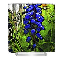 The Cobalt Blue Flowers And The Long Green Grass Shower Curtain