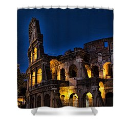 The Coleseum In Rome At Night Shower Curtain by David Smith