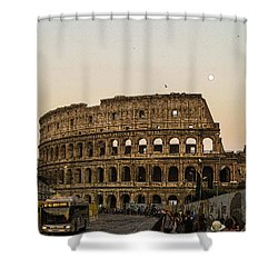 The Coliseum And The Full Moon Shower Curtain