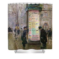 The Colonne Morris Shower Curtain by Jean Beraud