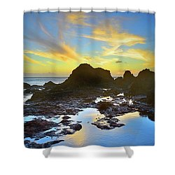 Shower Curtain featuring the photograph The Colours Amongst Sea, Sky And Stone by Tara Turner
