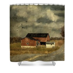 Shower Curtain featuring the digital art The Coming On Of Winter by Lois Bryan