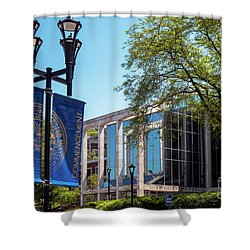 The Commencement Banner At Mountainlair Student Union West Virginia University Shower Curtain