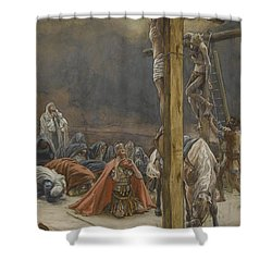 The Confession Of Saint Longinus Shower Curtain by Tissot