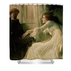 The Confession Shower Curtain by Sir Frank Dicksee