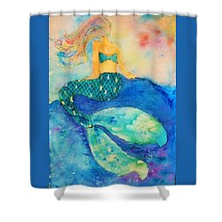 The Contemplation Of A Mermaid Shower Curtain by Ann Michelle Swadener