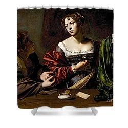 The Conversion Of The Magdalene Shower Curtain by Michelangelo Merisi da Caravaggio