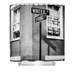 The Corner Of Winter And Spring Bw Shower Curtain