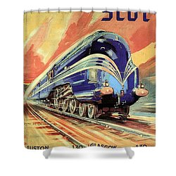 The Coronation Scot - Vintage Blue Locomotive Train - Vintage Travel Advertising Poster Shower Curtain