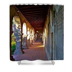 The Corridor By The Serra Chapel San Juan Capistrano Mission California Shower Curtain