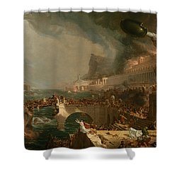 Shower Curtain featuring the painting The Course Of Empire Destruction by Thomas Cole