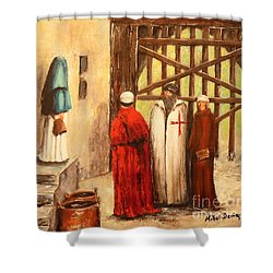 The Courtyard Conversation Shower Curtain