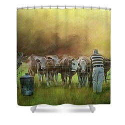 Shower Curtain featuring the photograph The Cow Whisperer by Wallaroo Images