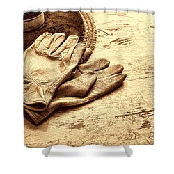 The Cowboy Gloves Shower Curtain by American West Legend By Olivier Le Queinec