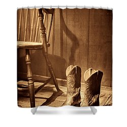 The Cowgirl Boots And The Old Chair Shower Curtain by American West Legend By Olivier Le Queinec