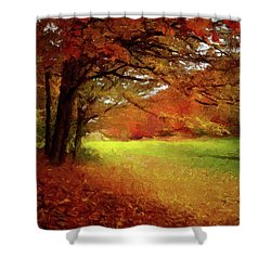 Shower Curtain featuring the painting The Crimson Season P D P by David Dehner