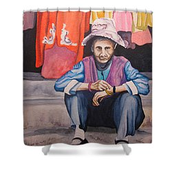Shower Curtain featuring the painting The Crone by Teresa Beyer