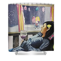 Shower Curtain featuring the painting The Crones Blessing by Teresa Beyer