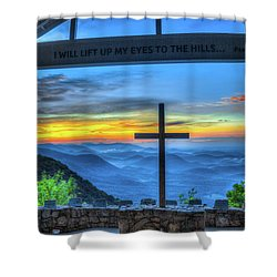 The Cross Sunrise At Pretty Place Chapel Shower Curtain by Reid Callaway