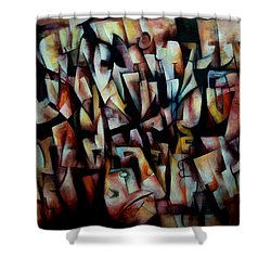 Shower Curtain featuring the painting The Crowds by Kim Gauge
