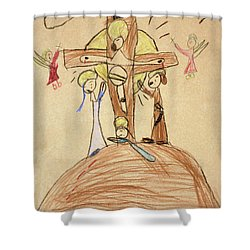 Shower Curtain featuring the drawing The Crucifixion By Fr. Bill At Age 5 by William Hart McNichols