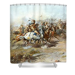 The Custer Fight Shower Curtain by Charles Russell