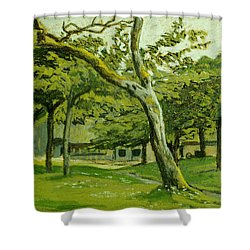 The Customs Hut In The Morning Shower Curtain by Claude Monet