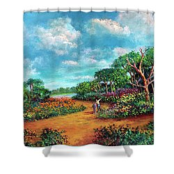 Shower Curtain featuring the painting The Cycle Of Life by Randol Burns