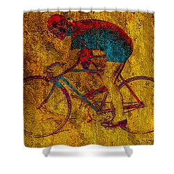 The Cyclist Shower Curtain by Andrew Fare