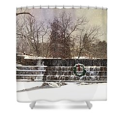 Shower Curtain featuring the photograph The Dam At Christmas by Robin-Lee Vieira