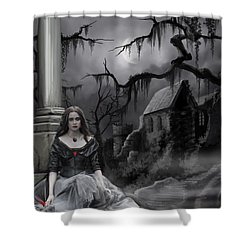The Dark Caster Awaits Shower Curtain by James Christopher Hill