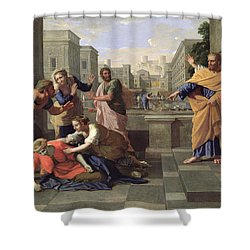 The Death Of Sapphira Shower Curtain by Nicolas Poussin