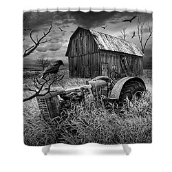 Shower Curtain featuring the photograph The Decline And Death Of The Small Farm In Black And White by Randall Nyhof